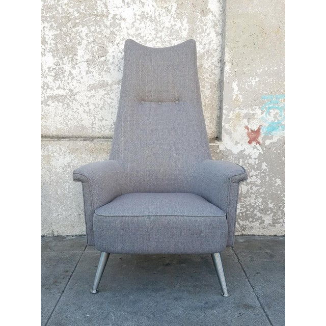 Mid Century Grey Tall Back Lounge Chair - Image 2 of 5