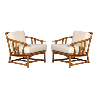 Superb Pair of Restored Vintage Ficks Reed Lounge or Club Chairs