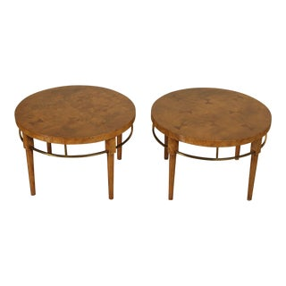 Mid Century Modern Pair Round Burl Wood and Brass Bow Tie Inlaid Side Tables For Sale