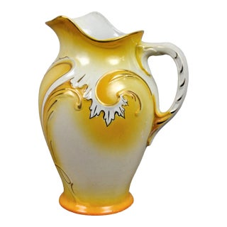 Gorgeous Handpainted Vintage Italian Pitcher Vase White and Sun Yellow For Sale