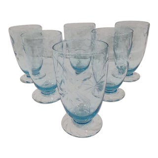 Mid-Century Czek Etched Crystal Glasses - Set of 6 For Sale