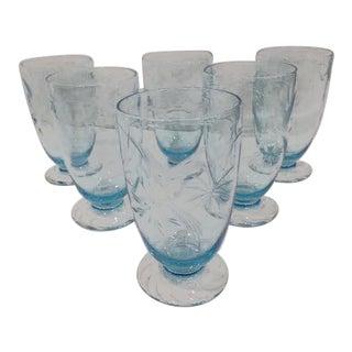 Vintage Mid-Century Czek Etched Crystal Glasses - Set of 6 For Sale