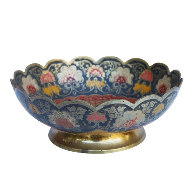 Blue Peacock Engraved Moroccan Brass Bowl For Sale - Image 8 of 8