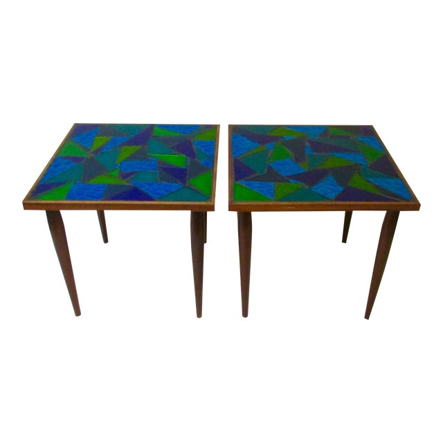 Jon Matin Mosaic Turquoise Tables - a Pair For Sale