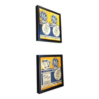 G.E. Motion Picture Vintage Studio Light Bulb Wrapper. Original. Circa 1940s. Framed Pair Shows Front And Rear Of Piece. Very Rare. On Sale For Sale