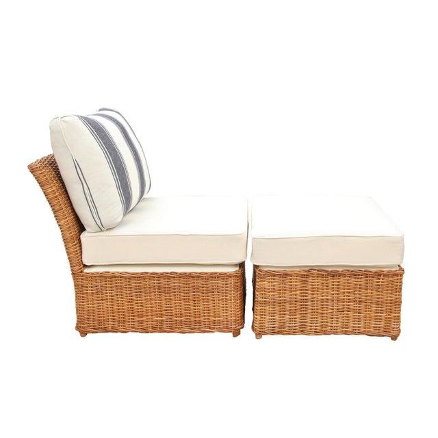 Custom Boho Rattan Chair and Ottoman Set For Sale - Image 4 of 6