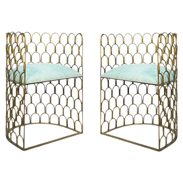 Justinian Metal Accent Chairs - Pair For Sale