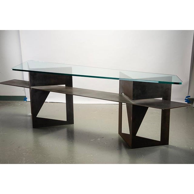 Gray Extra Large Brutalist Console with Iron Base and Glass Top For Sale - Image 8 of 9