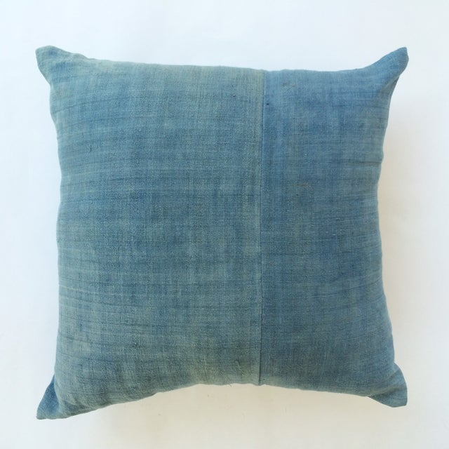 Hand Woven Light Blue-Indigo Hemp Pillow - Image 2 of 3
