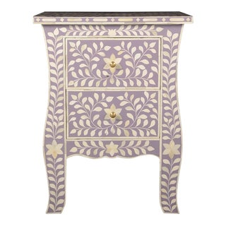 Imperial Beauty 2 Drawer Bedside Table in Lilac/White For Sale