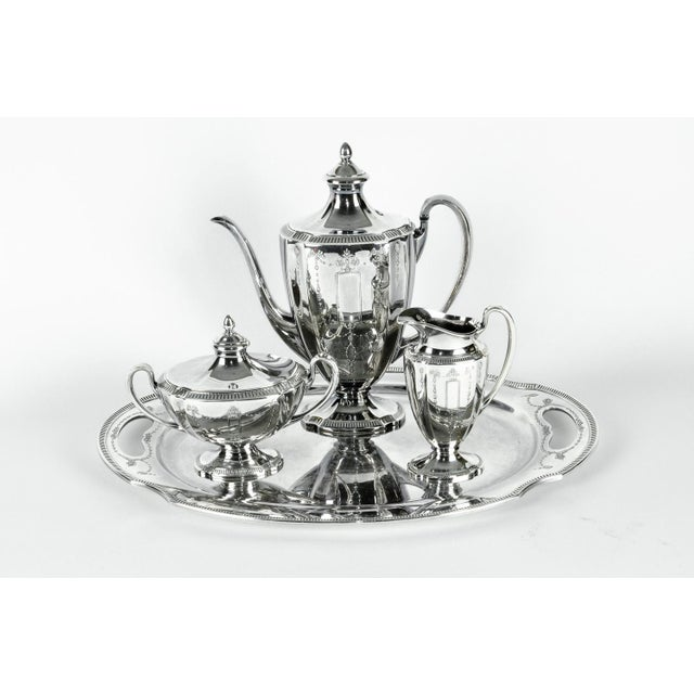 Silver Plate USA Tea & Coffee Set of 4 For Sale - Image 9 of 9