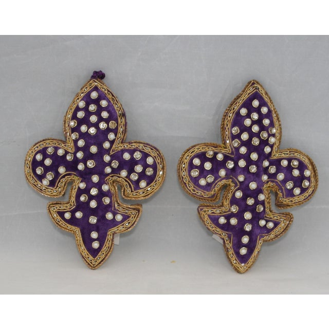 Sudha Pennathur Purple Velvet Beaded And Embroidered Fleur de Lis Ornament NWT Set of 2 This is an exquisite handmade...