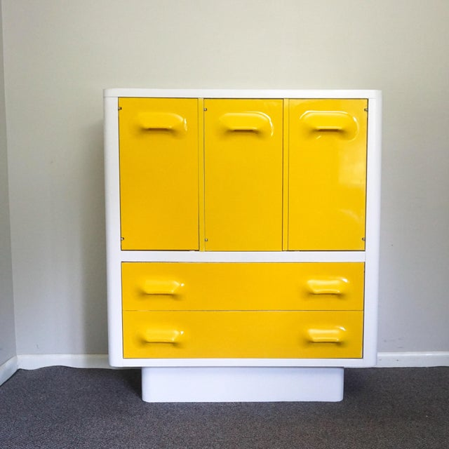 Yellow 1970s Mid Century Modern Broyhill Premier Chapter One Yellow Armoir Dresser For Sale - Image 8 of 8