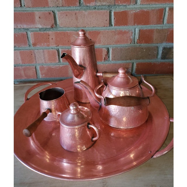 Vintage Rustic Mexican Hammered Copper and Brass Coffee Serving Set For Sale - Image 4 of 13