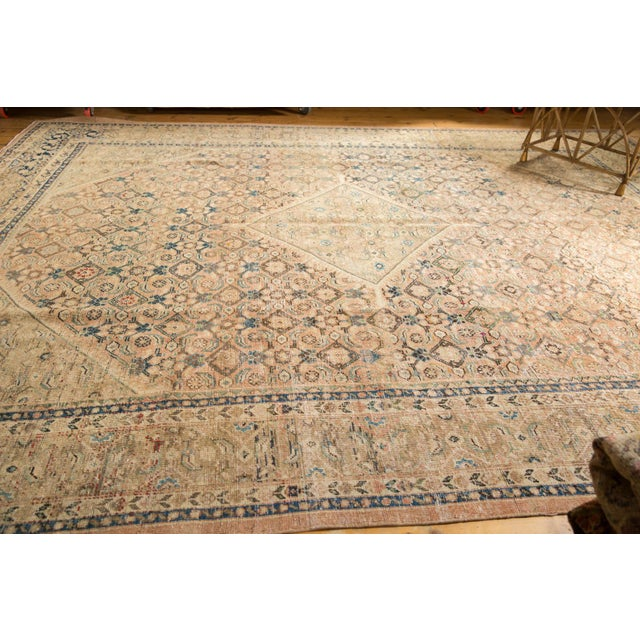 """Shabby Chic Vintage Distressed Mahal Carpet - 9'9"""" X 12'8"""" For Sale - Image 3 of 13"""