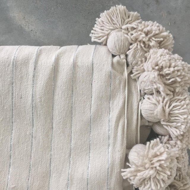 Moroccan Cream and Gold Pompom Throw For Sale - Image 3 of 4