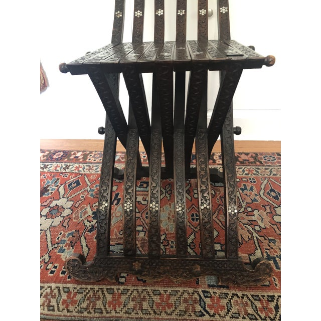 Brown Antique Wood Moorish Syrian Folding Chair with Mother of Pearl Inlay For Sale - Image 8 of 13