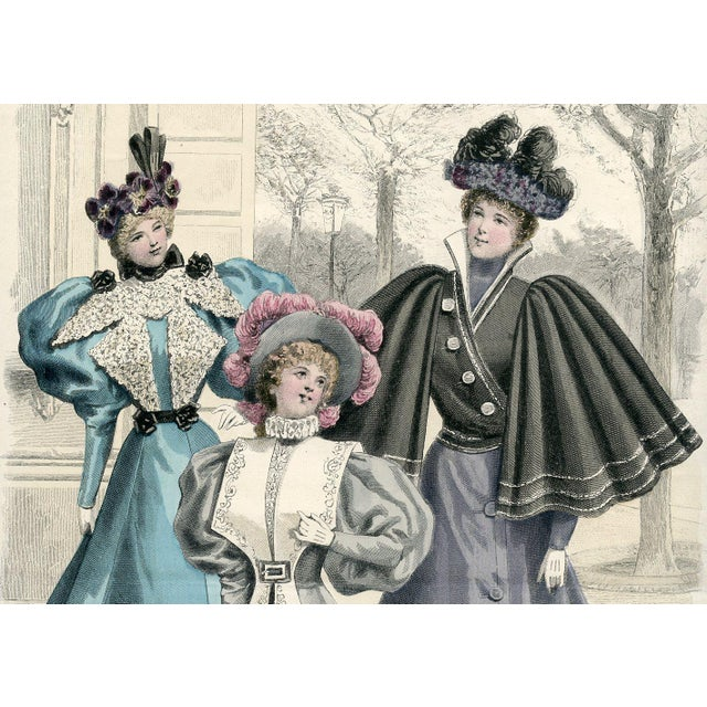 Vintage French Fashion Print 1888 - Image 2 of 2