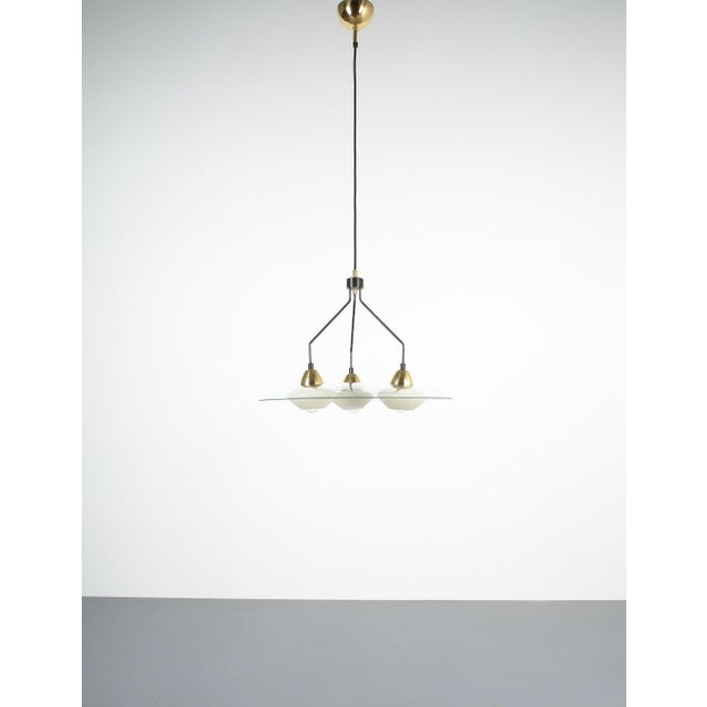 Angelo Lelii Style Ufo Chandelier Clear Glass Brass, Italy Circa 1955 For Sale - Image 10 of 13