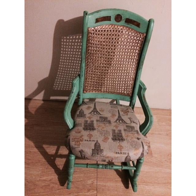 Shabby Chic Green Rocking Chair - Image 3 of 5