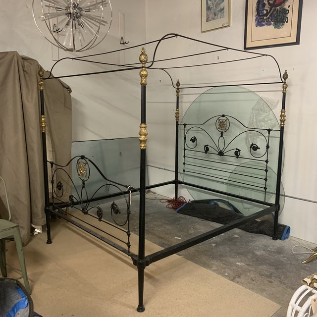 19th Century Victorian Brass and Iron King Bedframe For Sale - Image 12 of 13