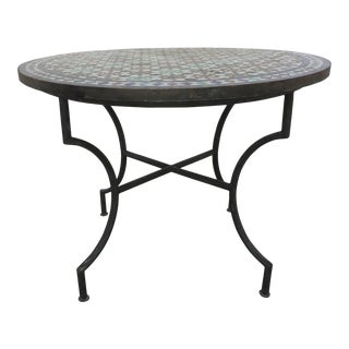 Vintage Mid Century Moroccan Round Mosaic Tile Outdoor Table For Sale