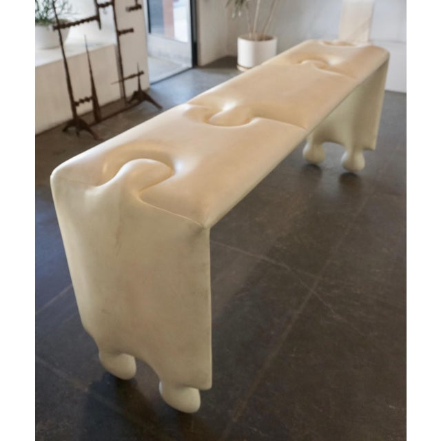 Goatskin lacquered console was designed to make a striking statement in any living room or entryway. It features a large,...