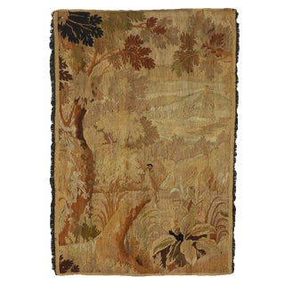 "Antique French Aubusson Verdure Tapestry Landscape Scene Wall Hanging - 3'9"" x 5'8"" For Sale"
