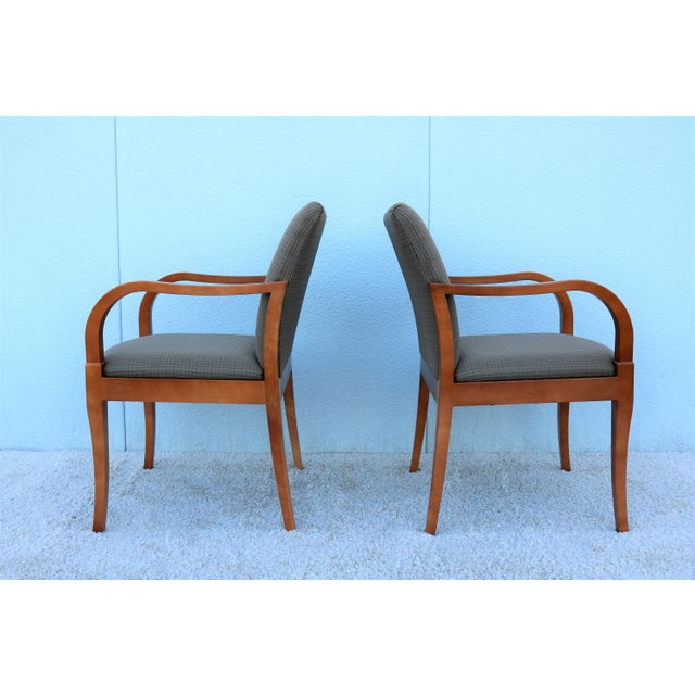 Brown 19th Century Scandinavian Modern Gunlocke Guest Dining Arm Chairs - Set of 4 For Sale - Image 8 of 13