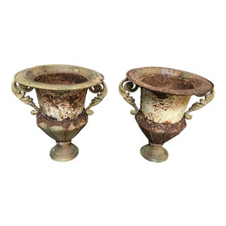 Antique Distressed Metal Urns - A Pair