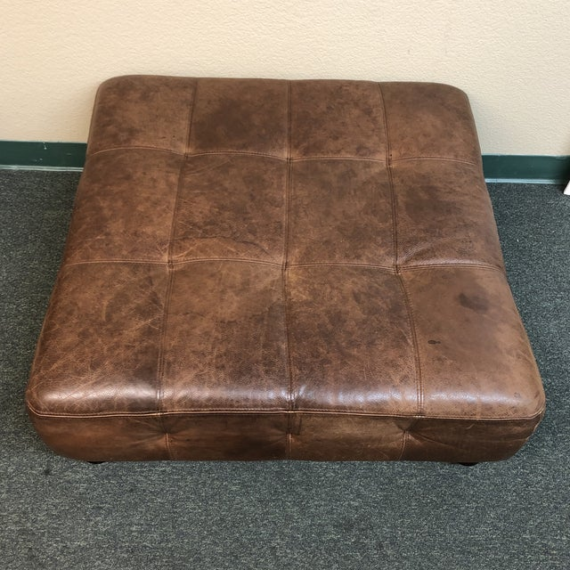 Traditional Tufted Leather Ottoman, by Ballard Designs For Sale - Image 3 of 10