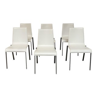 """Ligne Roset """"Zoe"""" Leather Dining Chairs - Set of 6 For Sale"""