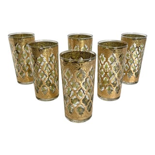 1950's Tall Culver Valencia Glasses - Set of 6 For Sale