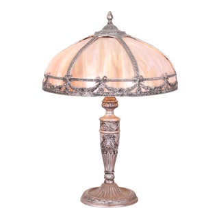 Antique American Art Nouveau Slag Glass Table Lamp Attributed to Bradley & Hubbard, Circa 1920 For Sale