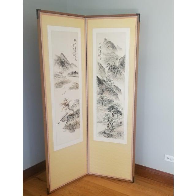 1960s Vintage Korean Hand Painted Seasons Silk Screen For Sale - Image 11 of 11