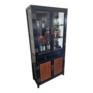 Asian Modern Black China Cabinet For Sale