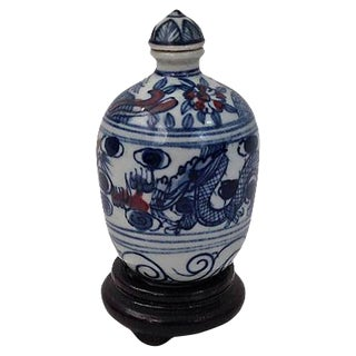 Blue Underglaze Snuff Bottle & Stand