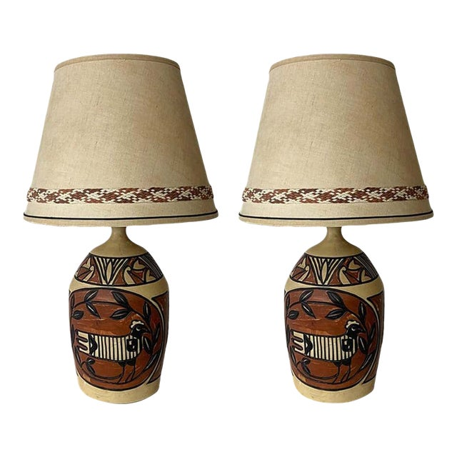 Aztec /Southwestern Pablo Picasso Style Ceramic Table Lamps - a Pair For Sale