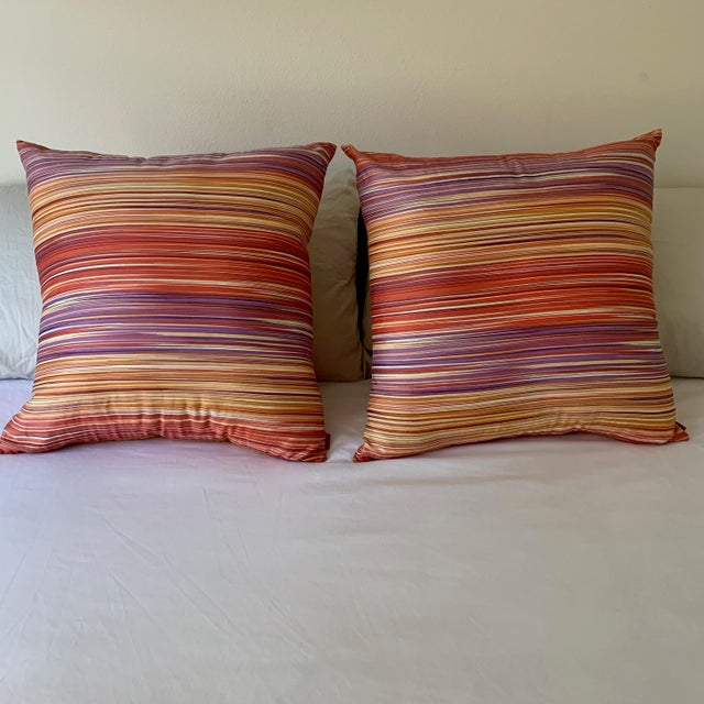 100% Cotton Missoni Home pillows with reversible fabric zip-off cases measuring 24 x 24. Polyester inserts - sold as a...
