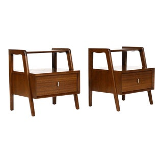 1960s Danish Modern John Keal for Brown Saltman Mahogany End Tables - a Pair For Sale
