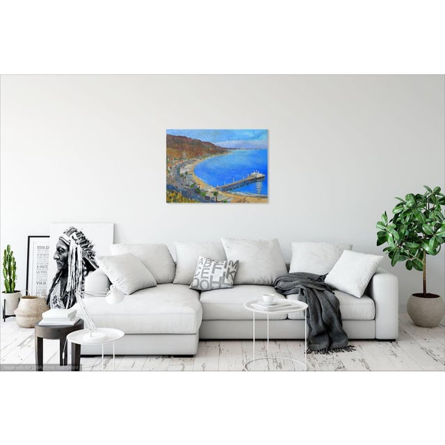 """Canvas """"Malibu Pier, California"""" Contemporary Oil Painting by Martha Holden For Sale - Image 7 of 8"""