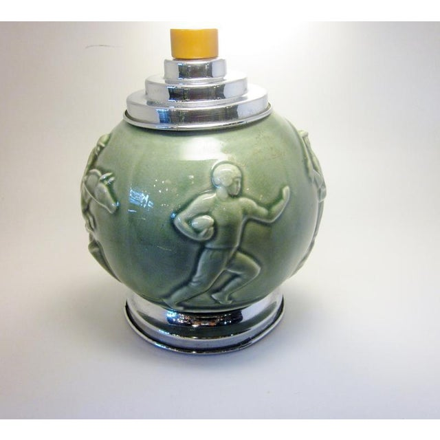 Metal Vintage Art Deco Rookwood Pottery Sports and Leisure Figural Theme Chrome Detail Bakelite Handle Cigarette Dispenser For Sale - Image 7 of 10