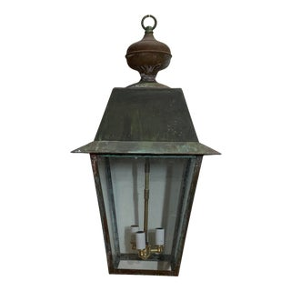 1980s Solid Brass Hanging Lantern For Sale