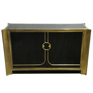 Mastercraft Black Lacquer and Brass Credenza For Sale