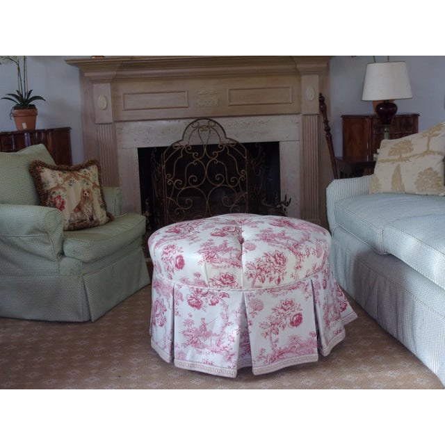 French Rose Toile Ottoman With Custom Braid and Band Trims For Sale - Image 9 of 9