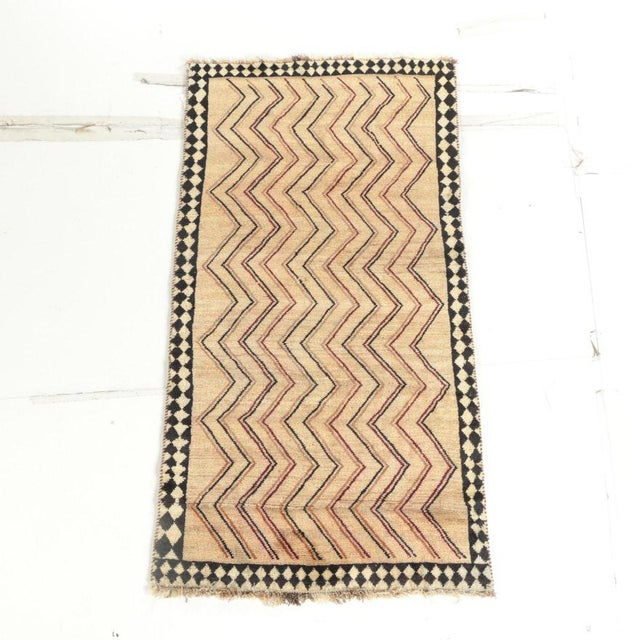 Tan Late 20th Century Hand-Knotted Persian Gabbeh Rug - 3′2″ × 6′8″ For Sale - Image 8 of 8