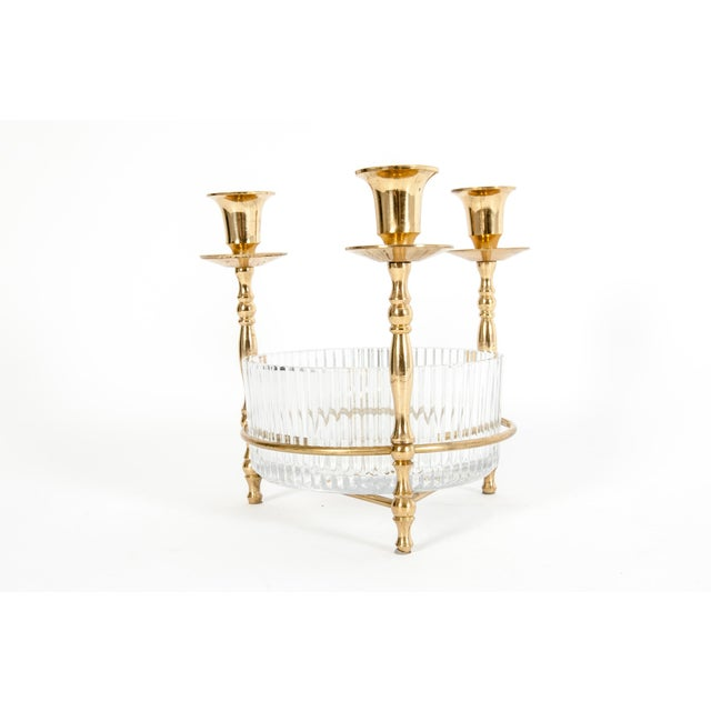 Gold Cut Crystal / Gilt Brass Holding Candlestick Decorative Piece For Sale - Image 8 of 13