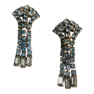 1970s Ice Blue Crystal Earrings - a Pair For Sale