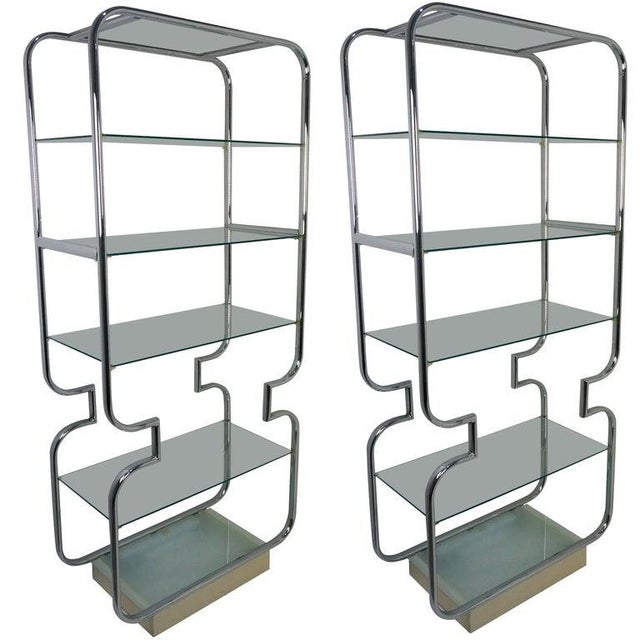 Mid-Century Modern Polished Chrome and Glass Etageres - a Pair For Sale - Image 11 of 11