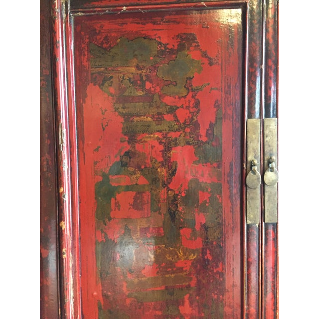 Antique Chinese Painted Wood Cabinet - Image 9 of 10